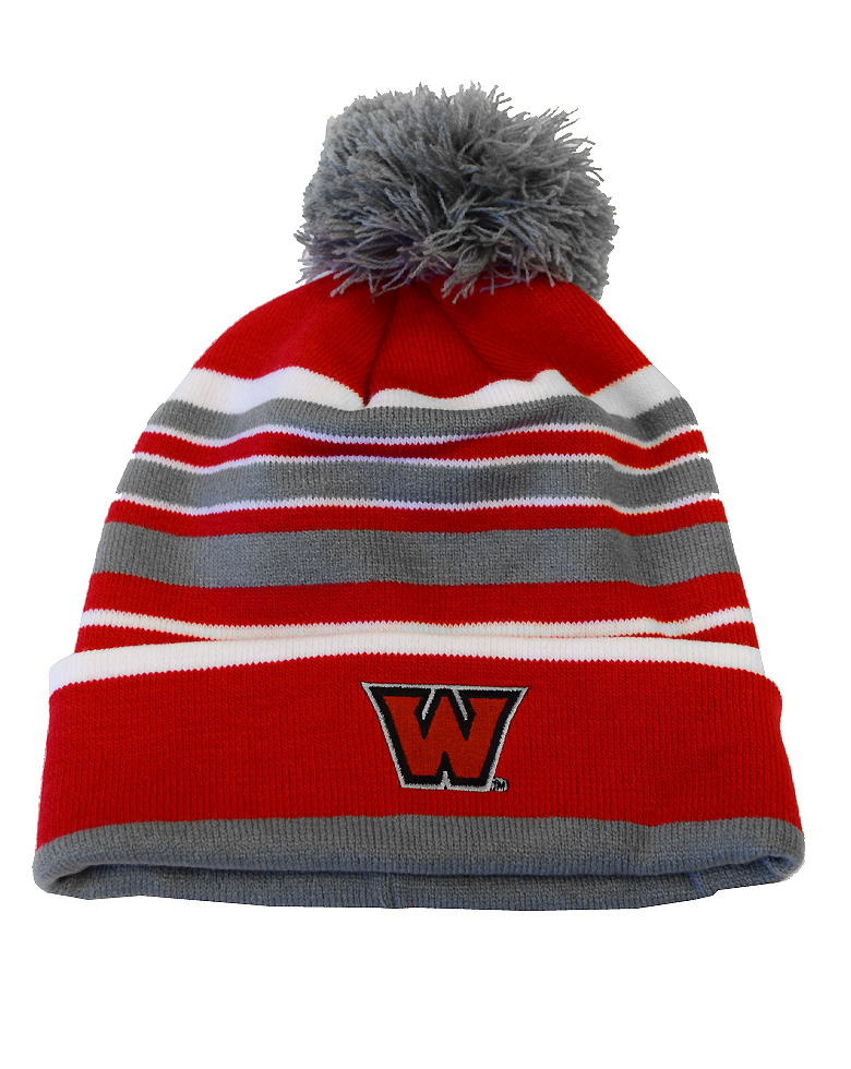 Striped Red Knit Hat with Pom