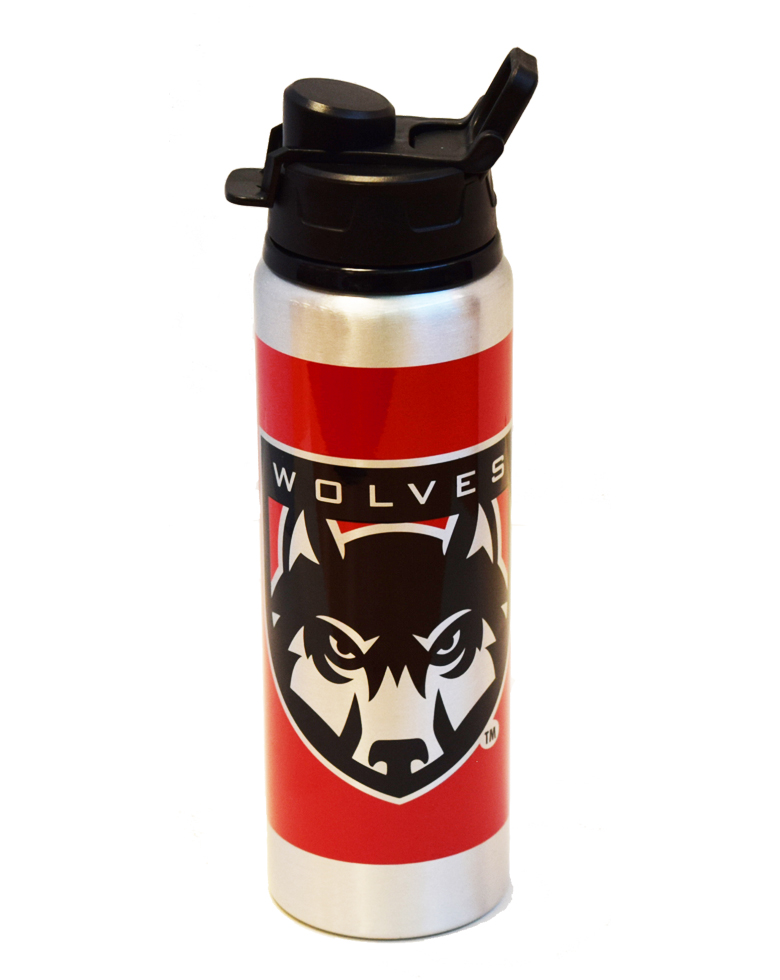 Image For Wolves Red Aluminum H2O Bottle