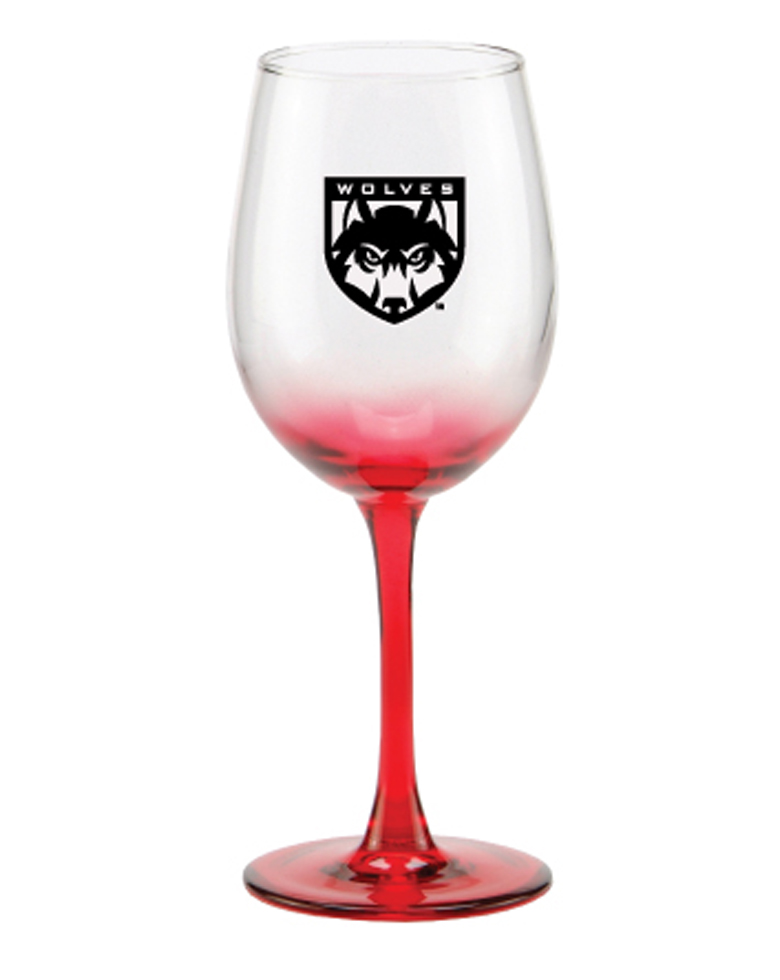 Image For Red Fade Wolves Wine Glass