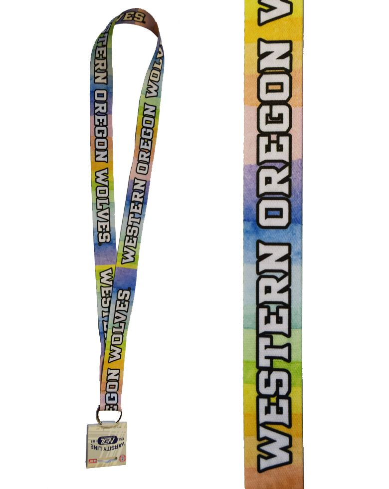 Cover Image For Pastel Watercolor Rainbow Satin Lanyard