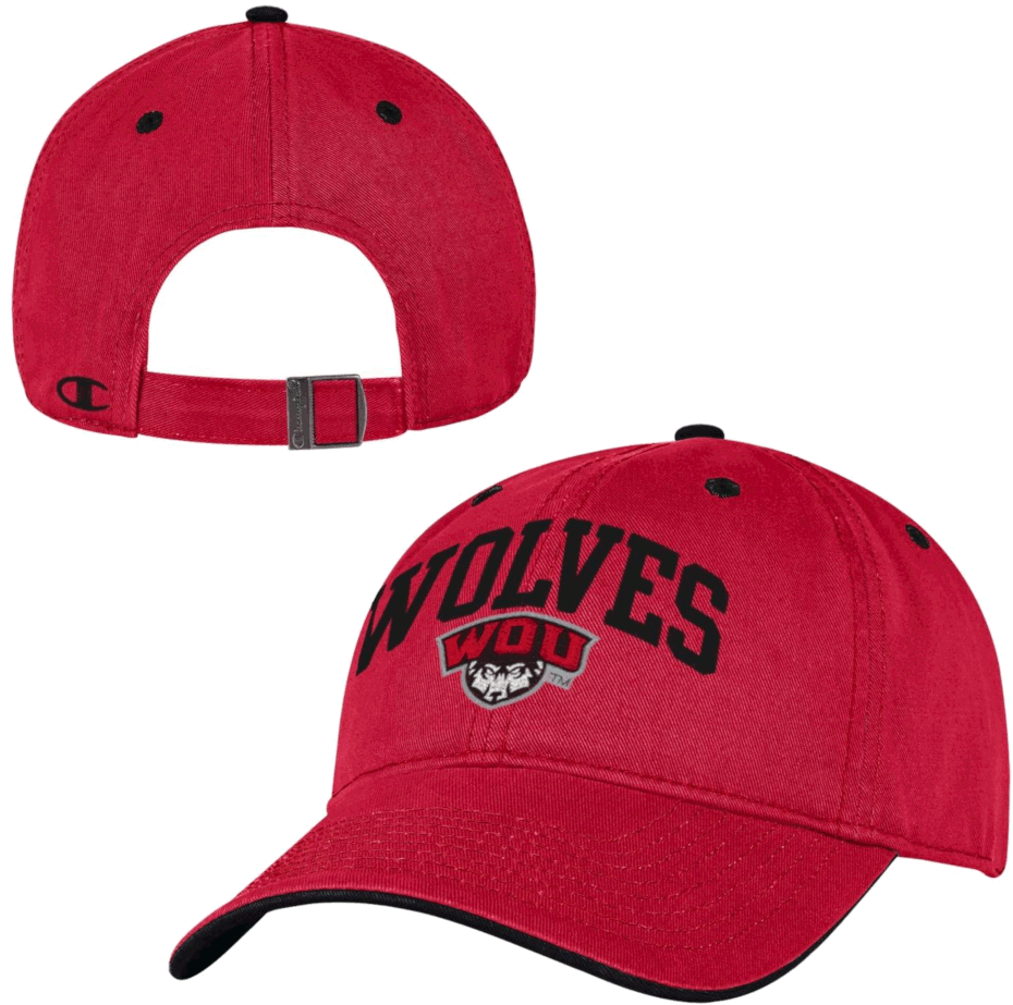 Image For Wolves WOU Sheild Logo Hat - Red