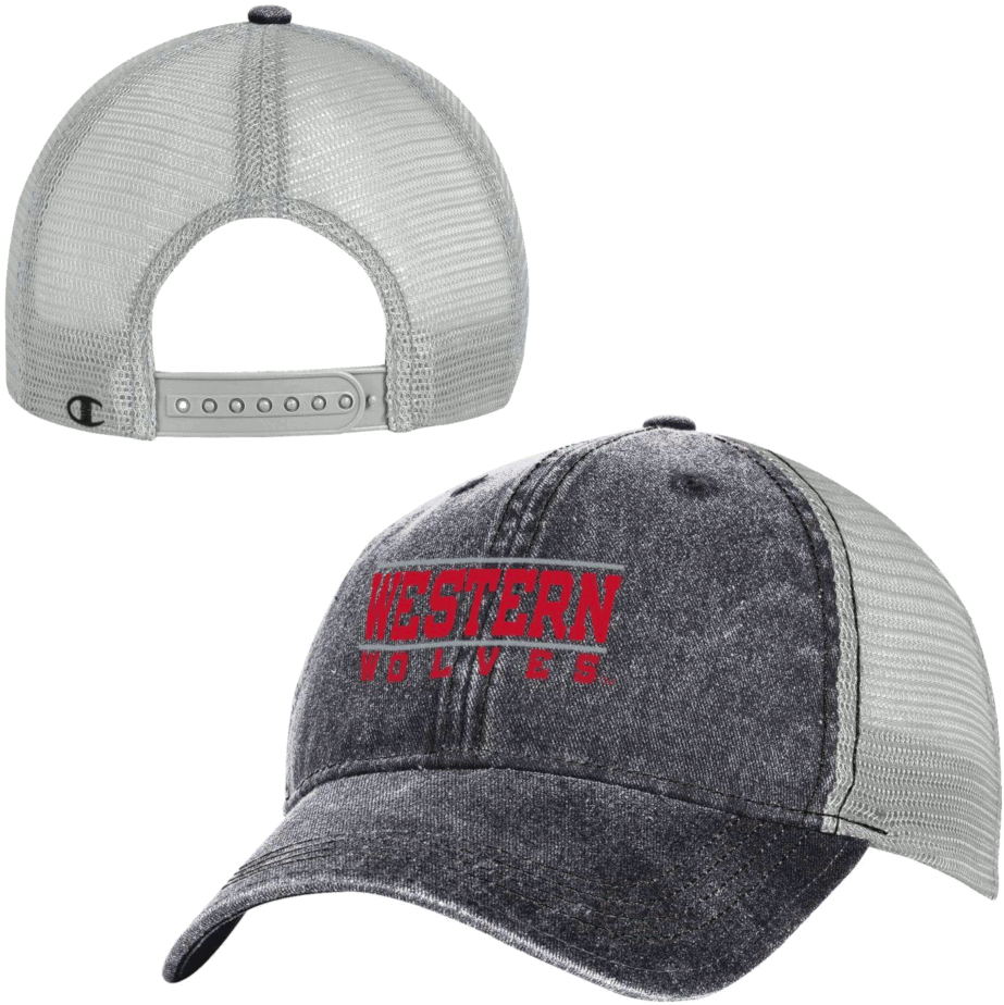 Image For Western Wolves Mesh Back Hat - Gray