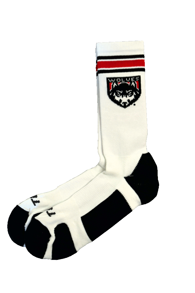 Image For Crew Sock With Wolves Shield Logo