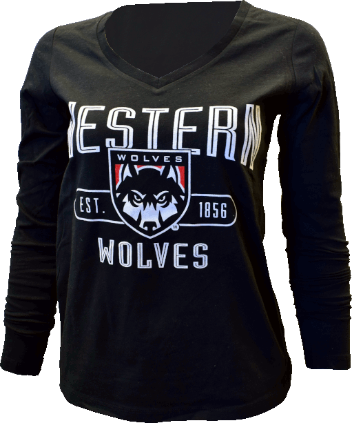 Image For Long Sleeve Wolves Shield Logo Tee