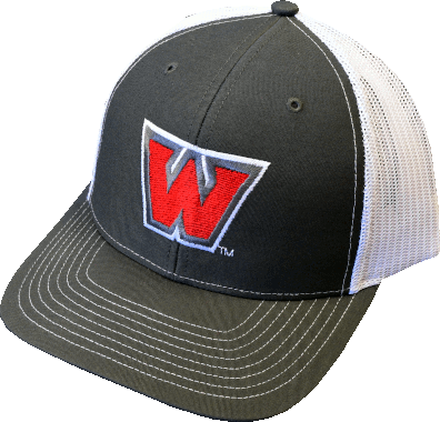 "Image For ""W"" Hat Charcoal/White"