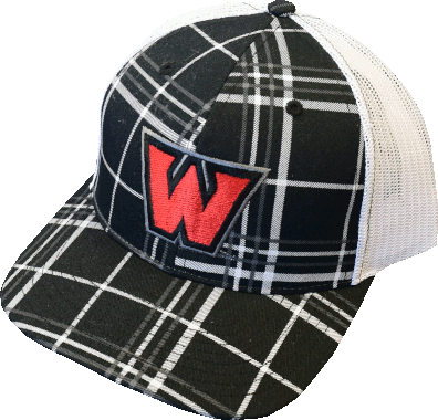 "Image For ""W"" Hat Plaid/Charcoal/White"