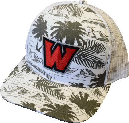 "Image For ""W"" Hat Tropical Charcoal/White"
