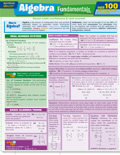 Cover Image For Algebra Fundamentals BarChart